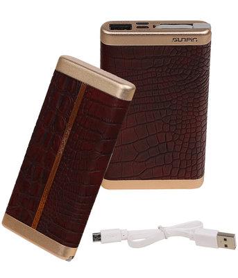Donker Bruin Krokodil SunPin Powerbank 6000 mAh iPhone/iPad Oplader