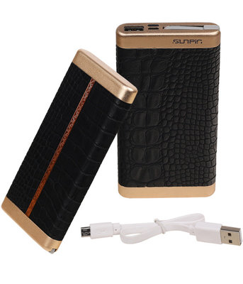 Zwart Krokodil SunPin Powerbank 10000 mAh iPhone/iPad Oplader