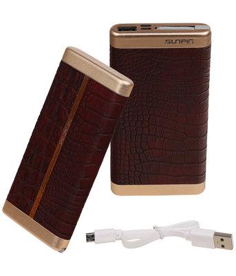 Donker Bruin Krokodil SunPin Powerbank 10000 mAh iPhone/iPad Oplader