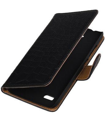 Zwart Krokodil Booktype Hoesje voor Huawei Y560 / Y5 Wallet Cover