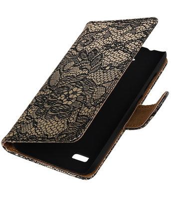 Zwart Lace Booktype Hoesje voor Huawei Y560 / Y5 Wallet Cover