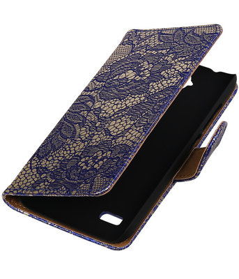 Blauw Lace Booktype Huawei Y560 / Y5 Wallet Cover Hoesje