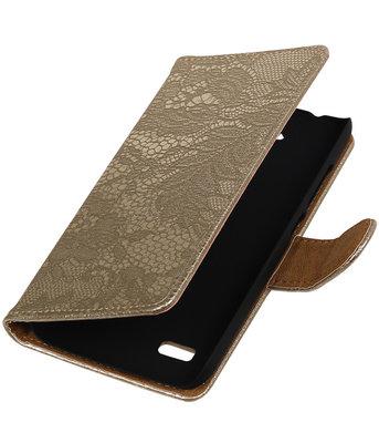 Goud Lace Booktype Hoesje voor Huawei Y560 / Y5 Wallet Cover