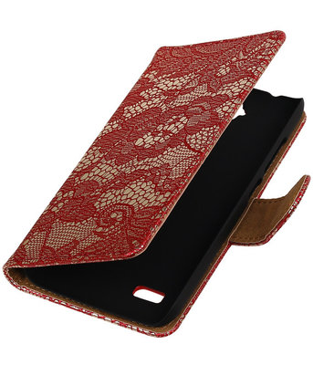 Rood Lace Booktype Hoesje voor Huawei Y560 / Y5 Wallet Cover