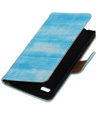 Turquoise Mini Slang Booktype Hoesje voor Huawei Y560 / Y5 Wallet Cover