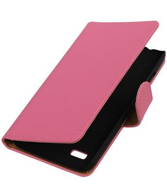 Roze Effen Booktype Hoesje voor Huawei Y560 / Y5 Wallet Cover
