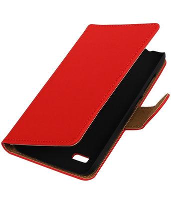 Rood Effen Booktype Hoesje voor Huawei Y560 / Y5 Wallet Cover