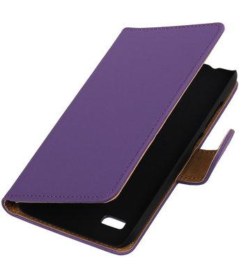 Paars Effen Booktype Hoesje voor Huawei Y560 / Y5 Wallet Cover