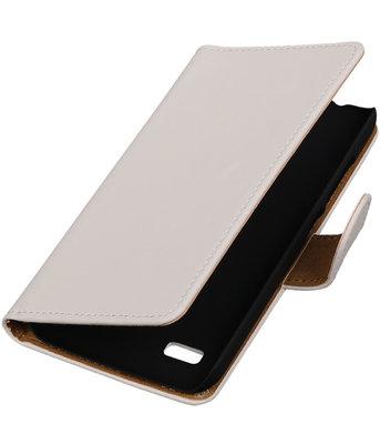 Wit Effen Booktype Hoesje voor Huawei Y560 / Y5 Wallet Cover
