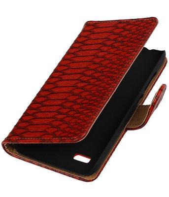 Rood Slang Booktype Hoesje voor Huawei Y560 / Y5 Wallet Cover