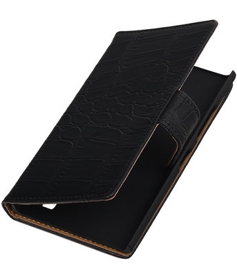 Hoesje voor Nokia Lumia 735 Crocodile Booktype Wallet Zwart