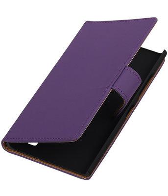 Hoesje voor Nokia Lumia 735 Effen Booktype Wallet Paars