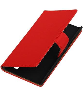 Hoesje voor Nokia Lumia 735 Effen Booktype Wallet Rood
