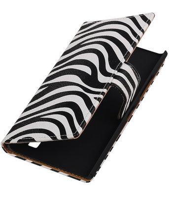 Hoesje voor Nokia Lumia 735 Zebra Booktype Wallet