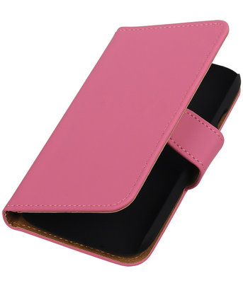 Hoesje voor Motorola Moto E (2nd gen) Effen Booktype Wallet Roze