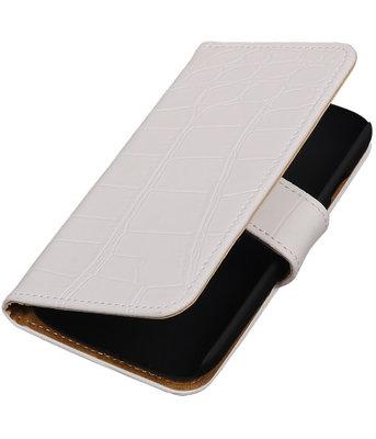 Wit Krokodil Booktype Hoesje voor Motorola Moto E (2nd gen) Wallet Cover