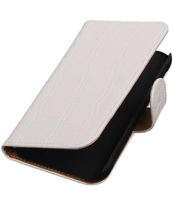 Hoesje voor Samsung Galaxy Xcover 3 Krokodil Bookstyle Wallet Wit