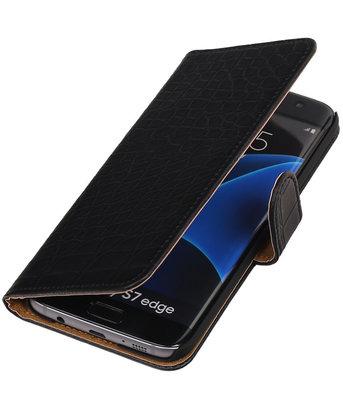 Zwart Krokodil Booktype Hoesje voor Samsung Galaxy S7 Edge Wallet Cover