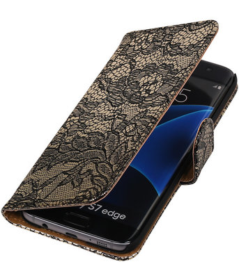 Zwart Lace Booktype Samsung Galaxy S7 Edge Wallet Cover Hoesje