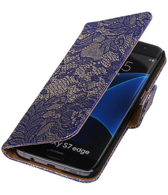 Blauw Lace Booktype Samsung Galaxy S7 Edge Wallet Cover Hoesje