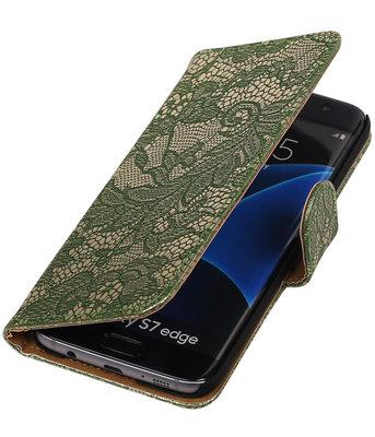 Donker Groen Lace Booktype Samsung Galaxy S7 Edge Wallet Cover Hoesje
