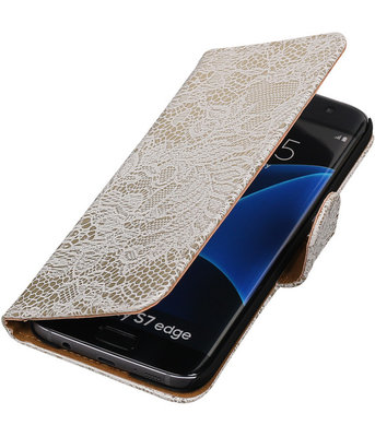 Wit Lace Booktype Hoesje voor Samsung Galaxy S7 Edge Wallet Cover