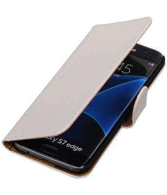 Wit Effen Booktype Hoesje voor Samsung Galaxy S7 Edge Wallet Cover