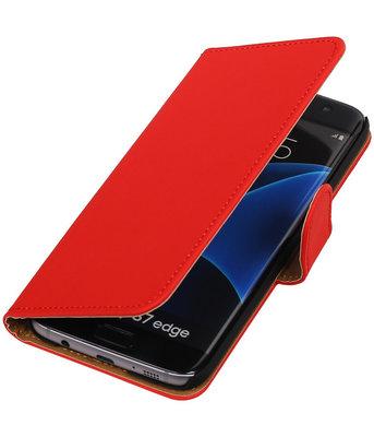 Rood Effen Booktype Hoesje voor Samsung Galaxy S7 Edge Wallet Cover