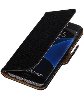 Zwart Slang Booktype Hoesje voor Samsung Galaxy S7 Edge Wallet Cover