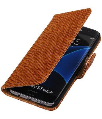 Bruin Slang Booktype Hoesje voor Samsung Galaxy S7 Edge Wallet Cover