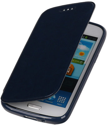 Polar Map Case Donker Blauw Hoesje voor Samsung Galaxy S4 mini TPU Bookcover