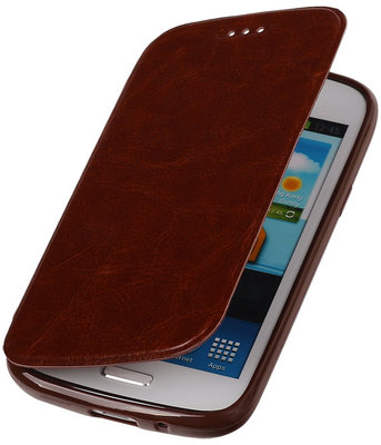 Polar Map Case Bruin Hoesje voor Samsung Galaxy S4 mini TPU Bookcover