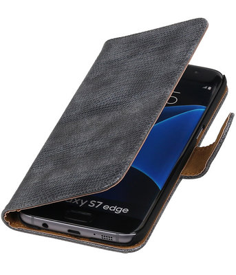 Grijs Mini Slang Booktype Hoesje voor Samsung Galaxy S7 Edge Wallet Cover