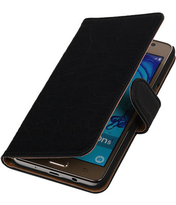 Hoesje voor Samsung Galaxy On5 - Krokodil Zwart Booktype Wallet
