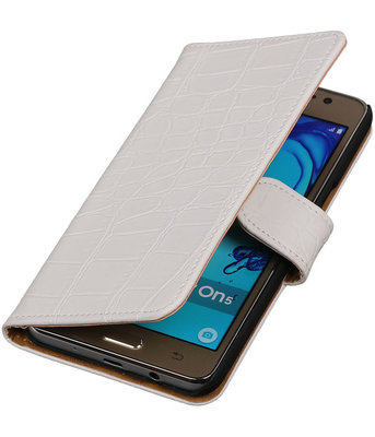 Hoesje voor Samsung Galaxy On5 - Krokodil Wit Booktype Wallet