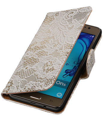 Hoesje voor Samsung Galaxy On5 - Lace Wit Booktype Wallet