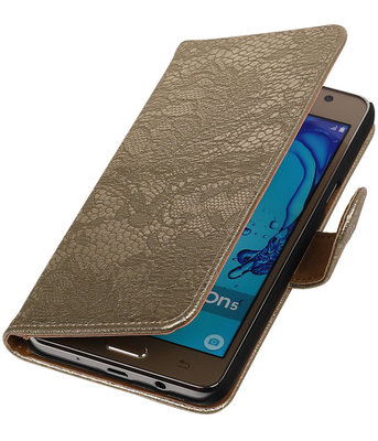 Hoesje voor Samsung Galaxy On5 - Lace Goud Booktype Wallet