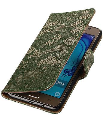Hoesje voor Samsung Galaxy On5 - Lace Donker Groen Booktype Wallet