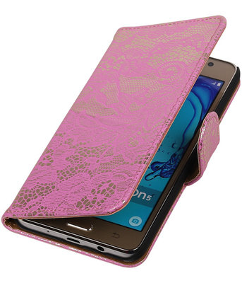 Hoesje voor Samsung Galaxy On5 - Lace Roze Booktype Wallet