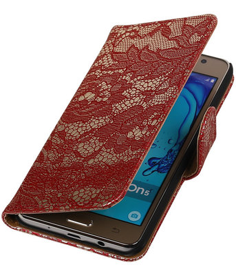 Hoesje voor Samsung Galaxy On5 - Lace Rood Booktype Wallet