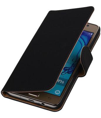 Hoesje voor Samsung Galaxy On5 - Effen Zwart Booktype Wallet