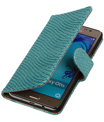 Hoesje voor Samsung Galaxy On5 - Slang Turquoise Booktype Wallet