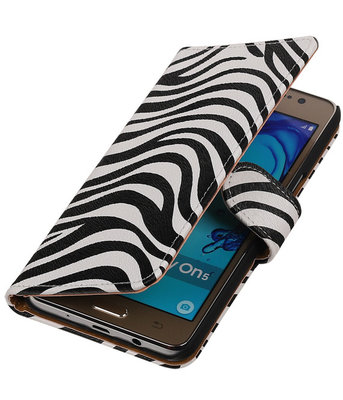 Hoesje voor Samsung Galaxy On5 - Zebra Booktype Wallet