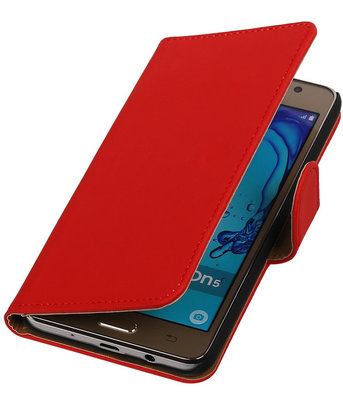 Hoesje voor Samsung Galaxy On5 - Effen Rood Booktype Wallet