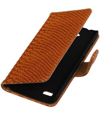 Bruin Slang Booktype Hoesje voor LG L70 Wallet Cover