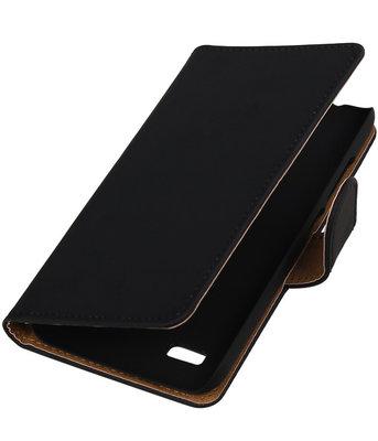 Zwart Effen Booktype Hoesje voor Sony Xperia SP Wallet Cover