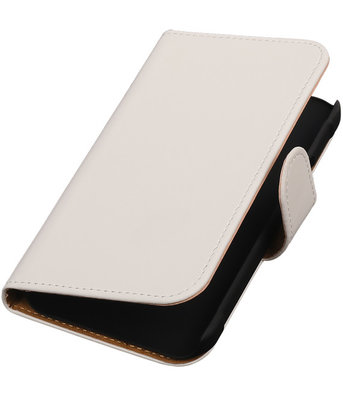 Wit Effen Booktype Hoesje voor Samsung Galaxy Xcover 2 S7710 Wallet Cover