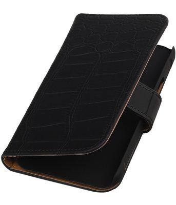 Zwart Krokodil Booktype Hoesje voor Samsung Galaxy Xcover 2 S7710 Wallet Cover