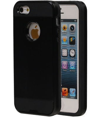 Zwart Bestcases Tough Armor TPU Back Cover Case Hoesje voor Apple iPhone 5/5S