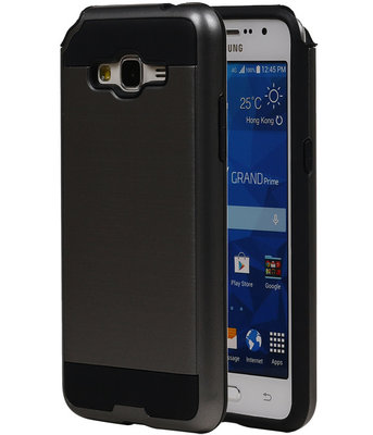 Grijs Bestcases Tough Armor TPU Back Cover Hoesje voor Samsung Galaxy Grand Prime